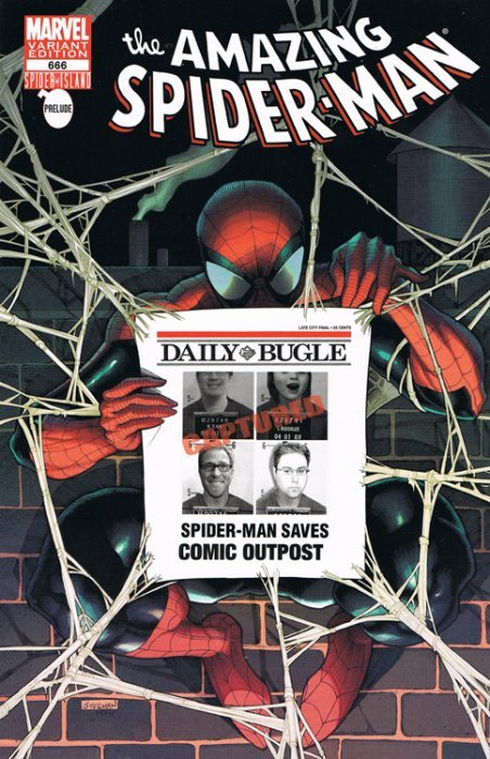 AMAZING SPIDERMAN 666 RARE HEROES COMICS STORE BUGLE VARIANT NM SPIDER ISLAND