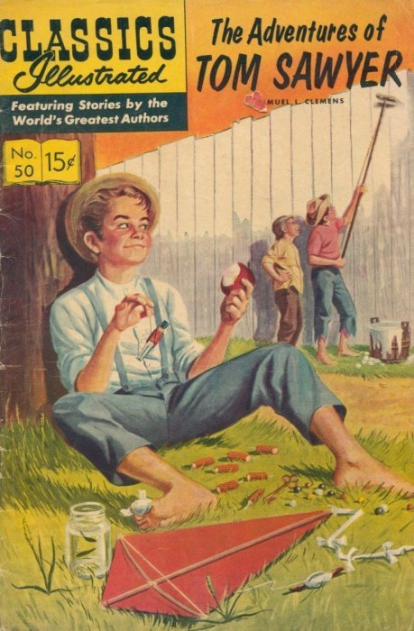 Illustrated Book Cover Archive : Classics illustrated adventures of tom sawyer