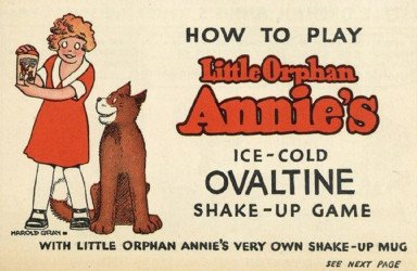 Wander Company's Little Orphan Annie's Ovaltine Shake-Up Game Manual Issue nn