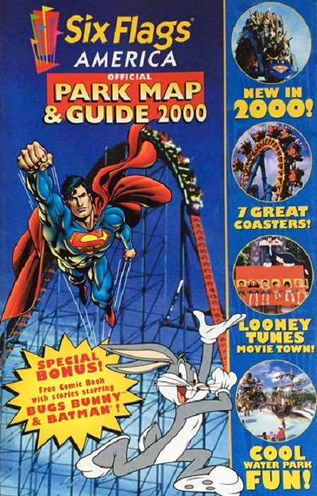 Six Flags Official Park Map Guide 2000 Issue 1america Dc Comics