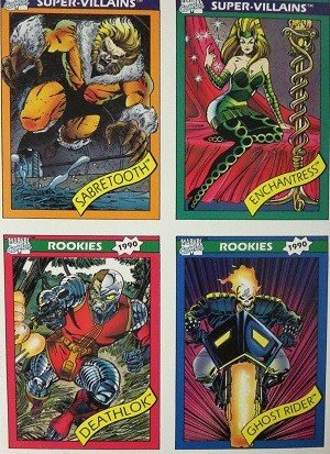 Impel Marvel Universe I Uncut  4-card (Sabretooth, Enchantress, Deathlok, Ghost Rider)
