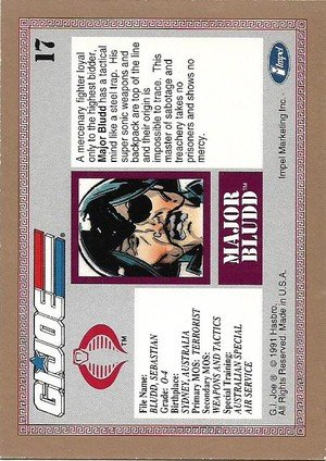 Impel G.I. Joe Gold Border Hall of Fame Base Card 17 Major Bludd