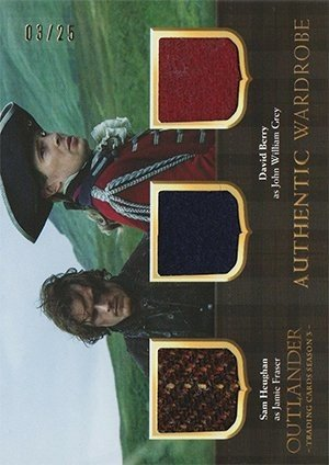 Cryptozoic Outlander Trading Cards Season 3 Triple Wardrobe Card TM1 Sam Heughan as Jamie Fraser / David Berry as John William Grey