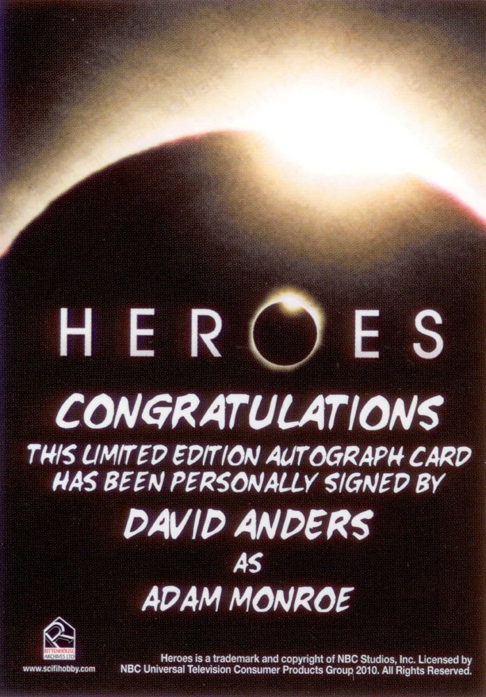Rittenhouse Archives Heroes Archives Autograph Card  David Anders as Adam Monroe