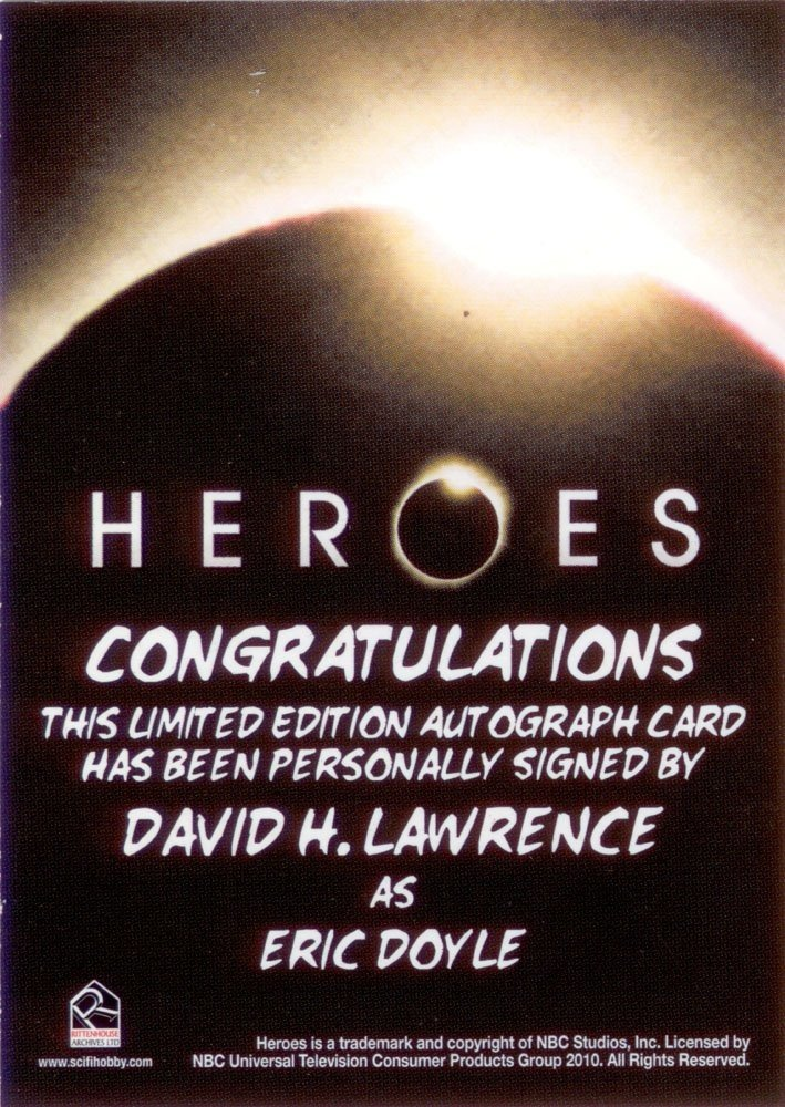 Rittenhouse Archives Heroes Archives Autograph Card  David H. Lawrence as Eric Doyle