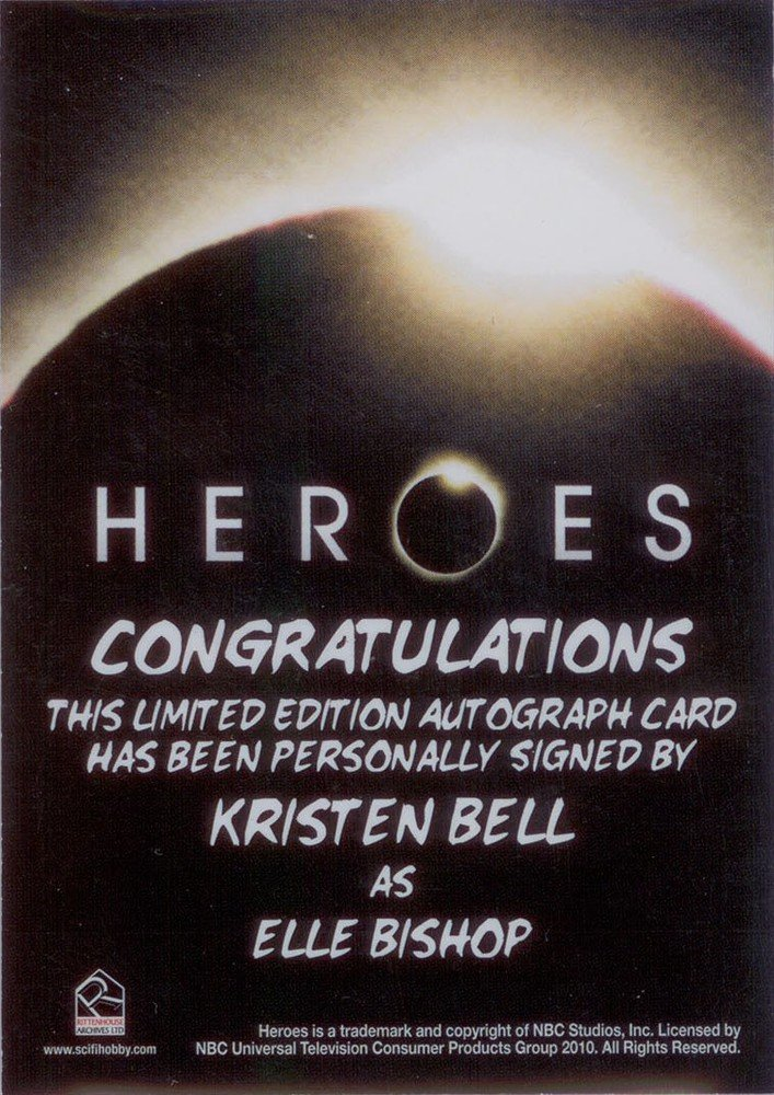 Rittenhouse Archives Heroes Archives Autograph Card  Kristen Bell as Elle Bishop