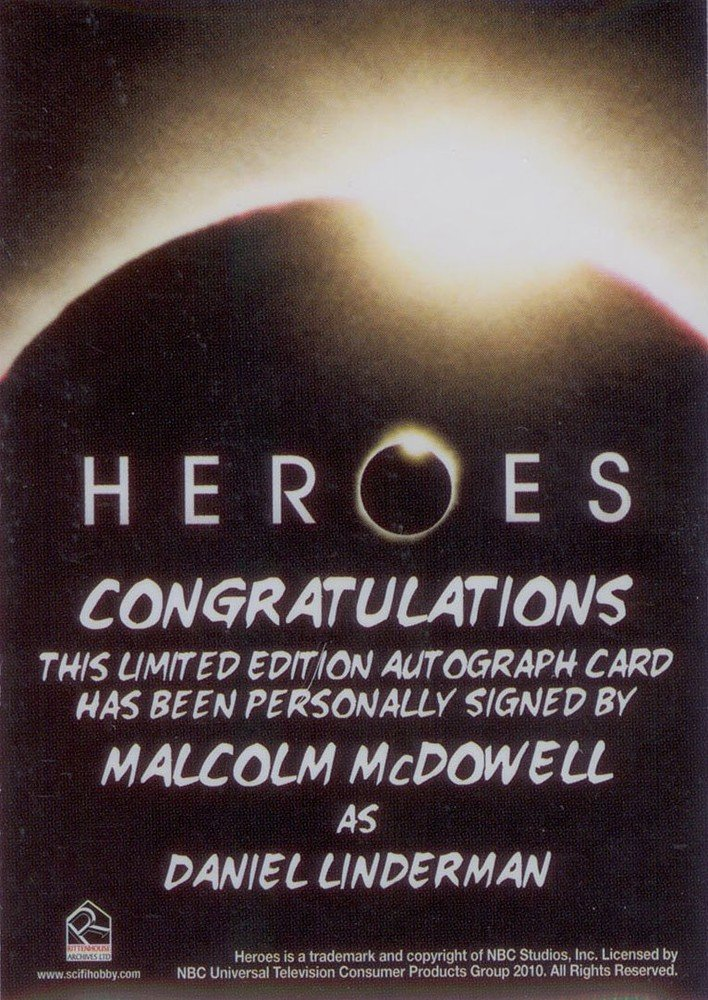 Rittenhouse Archives Heroes Archives Autograph Card  Malcolm McDowell as Daniel Linderman