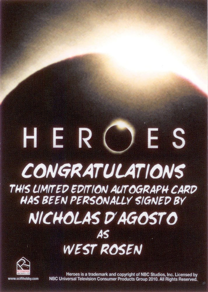 Rittenhouse Archives Heroes Archives Autograph Card  Nicholas D'Agosto as West Rosen
