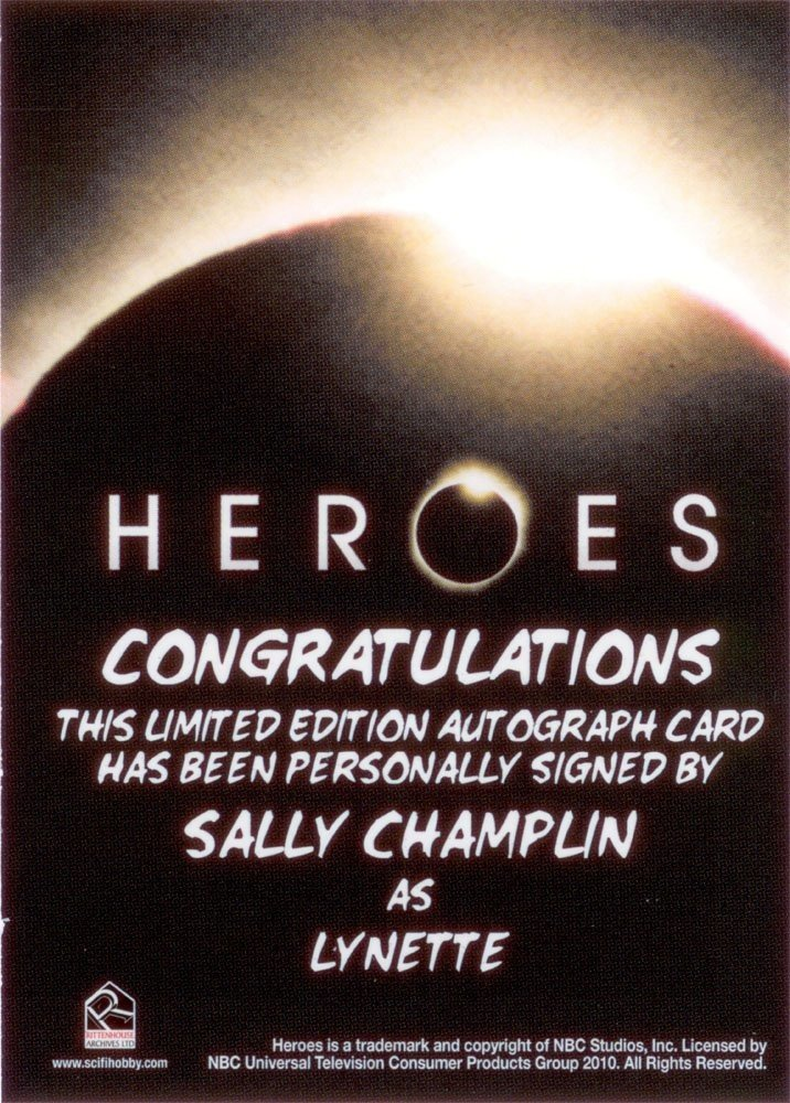 Rittenhouse Archives Heroes Archives Autograph Card  Sally Champlin as Lynette