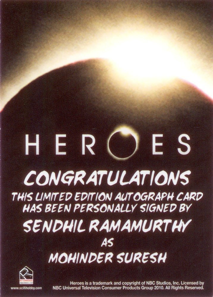 Rittenhouse Archives Heroes Archives Autograph Card  Sendhil Ramamurthy as Mohinder Suresh