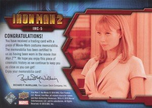 Upper Deck Iron Man 2 Memorabilia Card IMC-5 Pepper Potts