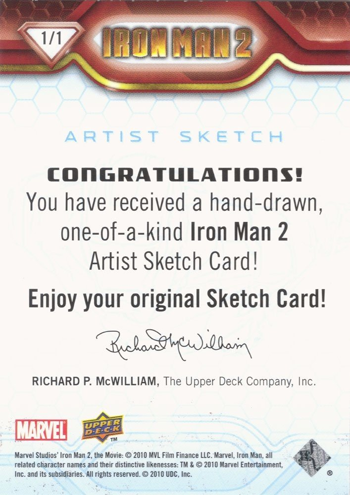 Upper Deck Iron Man 2 Artist Sketch Card  Justin Vandemark (400)