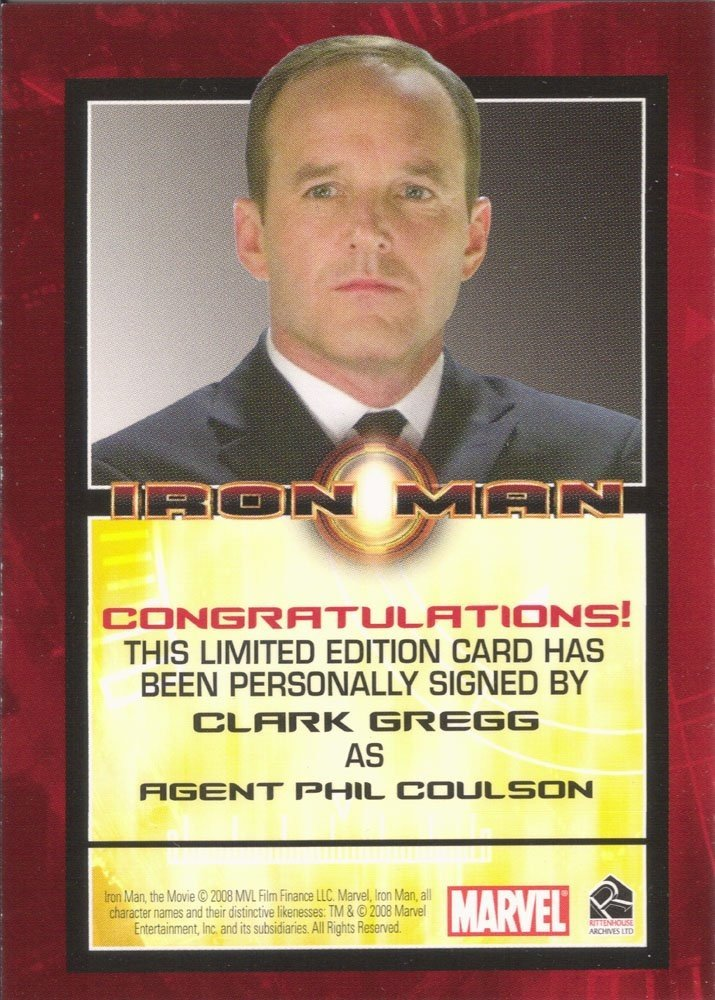 Rittenhouse Archives Iron Man Movie Cards Autograph Card  Clark Gregg as Agent Phil Coulson
