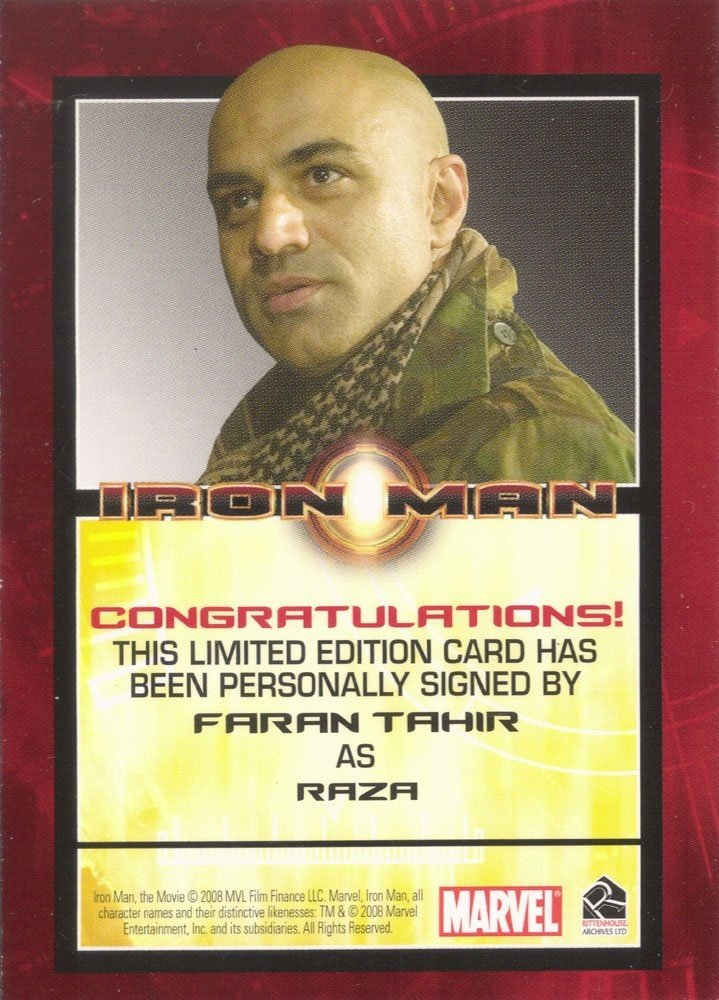 Rittenhouse Archives Iron Man Movie Cards Autograph Card  Faran Tahir as Raza
