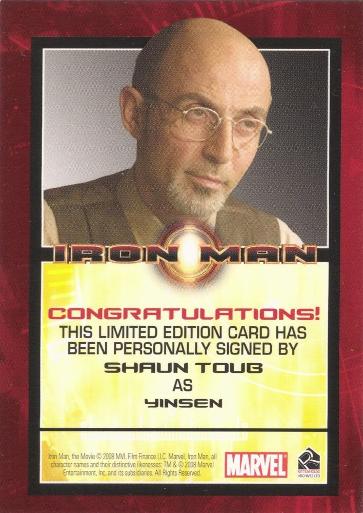 Rittenhouse Archives Iron Man Movie Cards Autograph Card  Shaun Toub as Yinsen