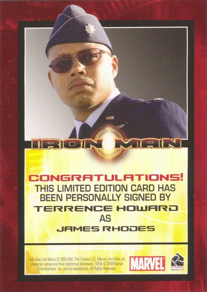 Rittenhouse Archives Iron Man Movie Cards Autograph Card  Terrence Howard as James Rhodes