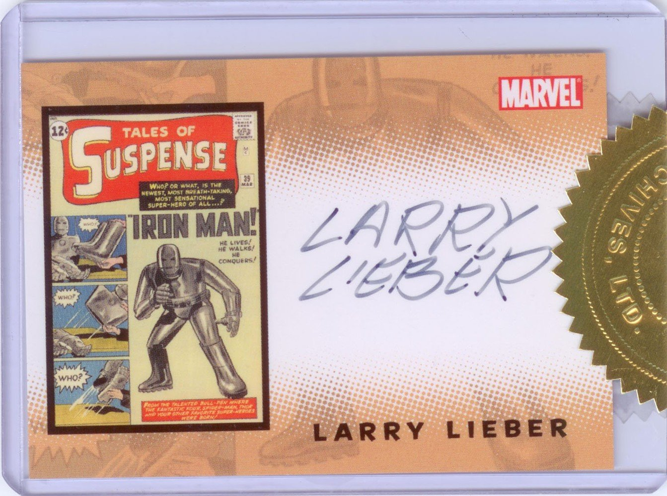 Rittenhouse Archives Iron Man Movie Cards Case Topper Autograph Card  Larry Lieber
