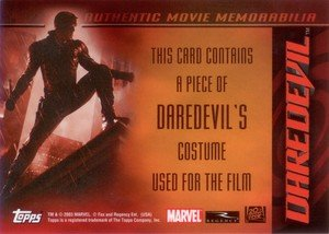 Topps Daredevil Movie Cards Authentic Movie Memorabilia Card  Daredevil's Costume
