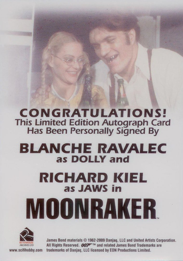 Rittenhouse Archives James Bond: Mission Logs Autograph Card  Blanche Ravalec/Richard Kiel as Dolly/Jaws in Moonraker