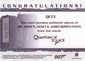 Rittenhouse Archives James Bond Archives Relic Card QC13 Mr. White's Jacket & James Bond's Pants - Dual Costume (775)