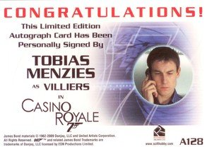 Rittenhouse Archives James Bond Archives Autograph Card A128 Tobias Menzies as Villiers