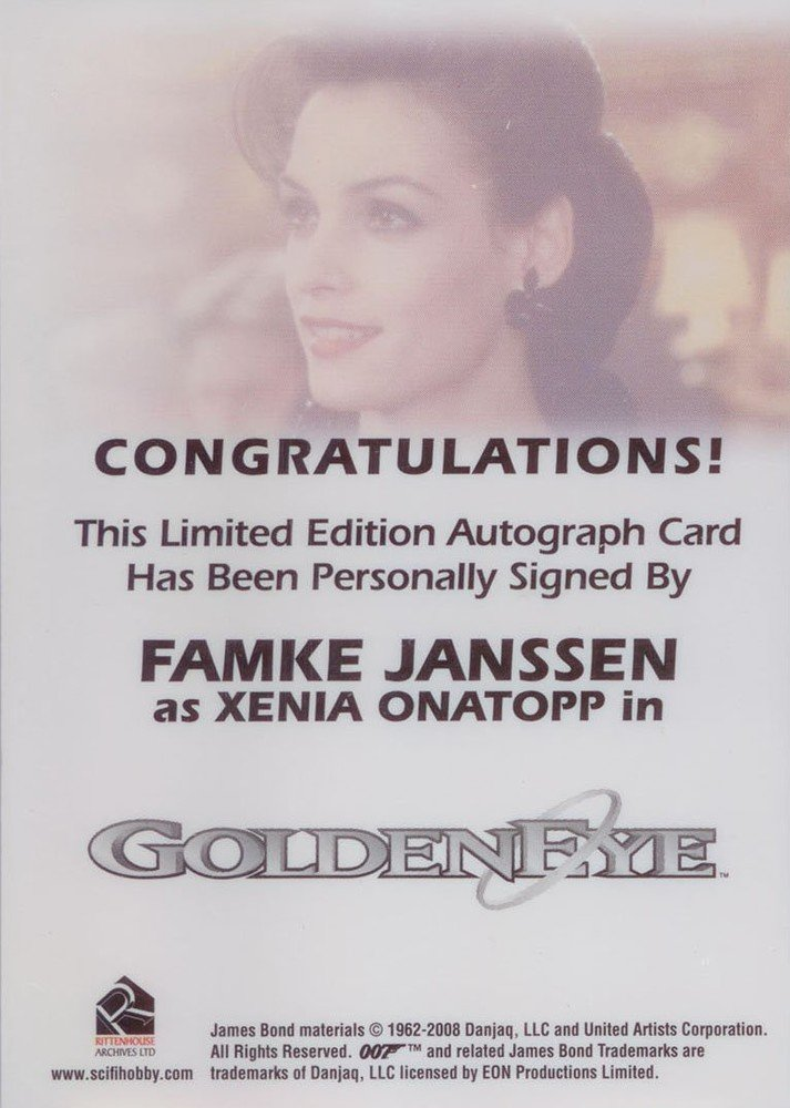 Rittenhouse Archives James Bond Archives Autograph Card  Famke Janssen as Xenia Onatopp