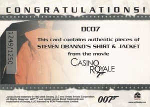 Rittenhouse Archives James Bond In Motion Costume Card DC07 Steven Obanno's Shirt & Jacket  from Casino Royale