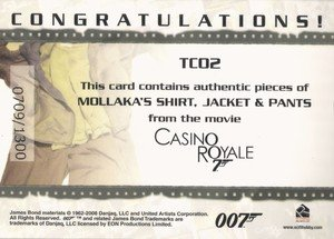 Rittenhouse Archives James Bond In Motion Costume Card TC02 Mollaka's Shirt, Jacket & Pants from Casino Royale