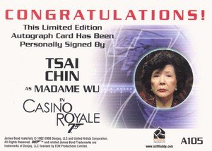 Rittenhouse Archives James Bond In Motion Autograph Card A105 Tsai Chin as Madame Wu in Casino Royale