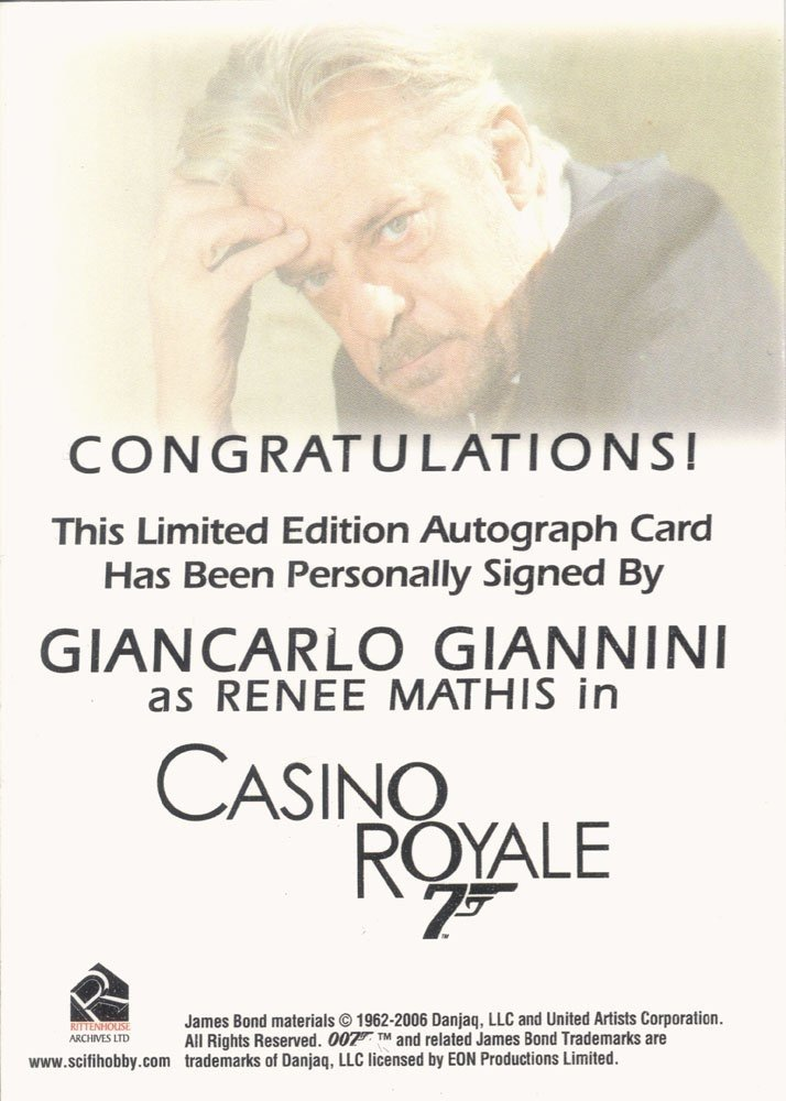 Rittenhouse Archives James Bond In Motion Autograph Card  Giancarlo Giannini as Renee Mathis in Casino Royale